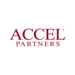 Accel partners logo, large red capital letters