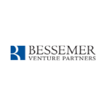 Bessemer logo, blue capital letters, blue square on the left with the white wave inside
