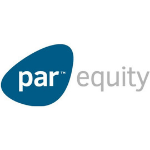 Par Equity logo, white background, first part of the name in white letters with blue background, the second part of the word is grey