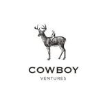 Cowboy logo, capital black letters, a man sitting on a deer above
