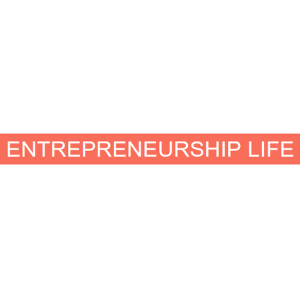 Logo titled entrepreneurship life with an orange background