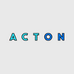 logo in blue capitals, when first three letters are light blue and last two letters are dark blue colour