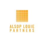 Alsop Louie Partners logo, orange capital letters, orange square above the name