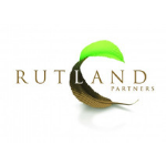 Rutland Partners logo, a leaf half brown half green in the middle of the background, dark brown capital letters
