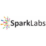 Sparklabs Global Venture logo, shite background, black letters, first part of the company's name bolt, firework on the left side