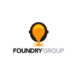 Foundry group logo, black letters, yellow bulb above