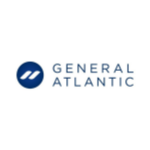 General Atlantic logo, blue capital letters, blue circle on the left with two white lines inside