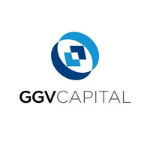 GGV logo, black capital letters, blue circle above