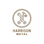 Harrison metal logo, capital dark letters, picture above the name with hammer in the circle