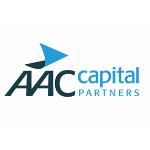 logo, capital letters AAC in the dark blue colour, blue arrow above them, on the right side from the capitals light blue letters and under them light blue capitals