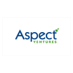 Aspect logo, blue letters in the first name, second word in green letters