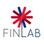 """logo in capital letters - three first letters are grey, last three are dark blue, there is a simplified flower growing from the """"l"""" letter consisting from one blue strip and four red"""