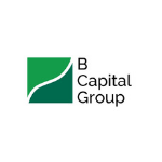B Capital Group logo, with the green square on the left separated in two triangles, black letters
