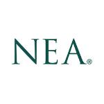 NEA logo, large capital green letters