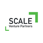 Scale logo, black letters, green lines on the left down corner and on the right top corner
