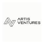 Artis Ventures logo, capital black letters,graphic in the shape of AV at the beginning