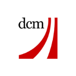 DCM logo, black letters, red lines on the right side
