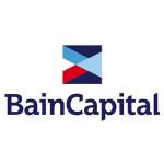BainCapital logo, blue letters, colourful square above the name
