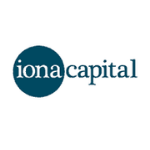 Iona Capital logo, blue circle with white letters inside, rest of the name is in blue letters, white backgroung