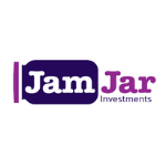 JamJar logo, a purple jar with white letters inside, on the right side second part of the name in purple letters with the white background