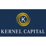 Kernel Capital logo, dark blue background, white capital letters, above the name white capital K in the yellow circle