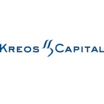 Kreos Capital logo, blue capital letters, in between words two lines, white background
