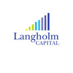 Langholm Capital logo, first part of the name is in the dark blue letter and the second part of it is in dar blue capital letters, strips avobe the name growing from the shortest to the longest and changing colours from light green, to light blue, purple and dark blue