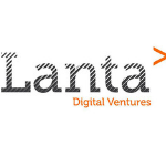 Lanta Digital Ventures Logo in grey letters, where the letters are light grey on the top and going to the dark grey at the bottom, orange arrow on the right side, rest of the name under in orange letters