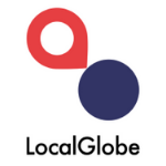 LocalGlobe logo, blue letters, above there is a blue circle - looking like a point and a read tear-shape directing to the blue point