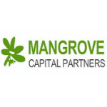 Mangrove Capital Partners logo, name in thee large green capital letters, the rest of the name in black capital letters, white background, a leaf in the green colour on the left side