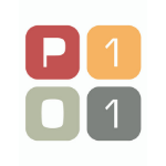 P101 logo, four colourful squares, one red square with white capital P letter inside, one orange square with white number one inside, under those two there is a light grey square with white zero in it, and dark grey square with white number one