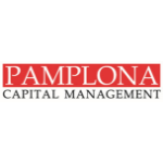 Pamplona Capital Management logo, white capital letters with the red background, rest are black capital letters