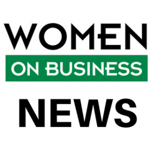 Women on Business logo with black and white letters on a white and green background