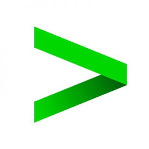 logo with green arrow on white background