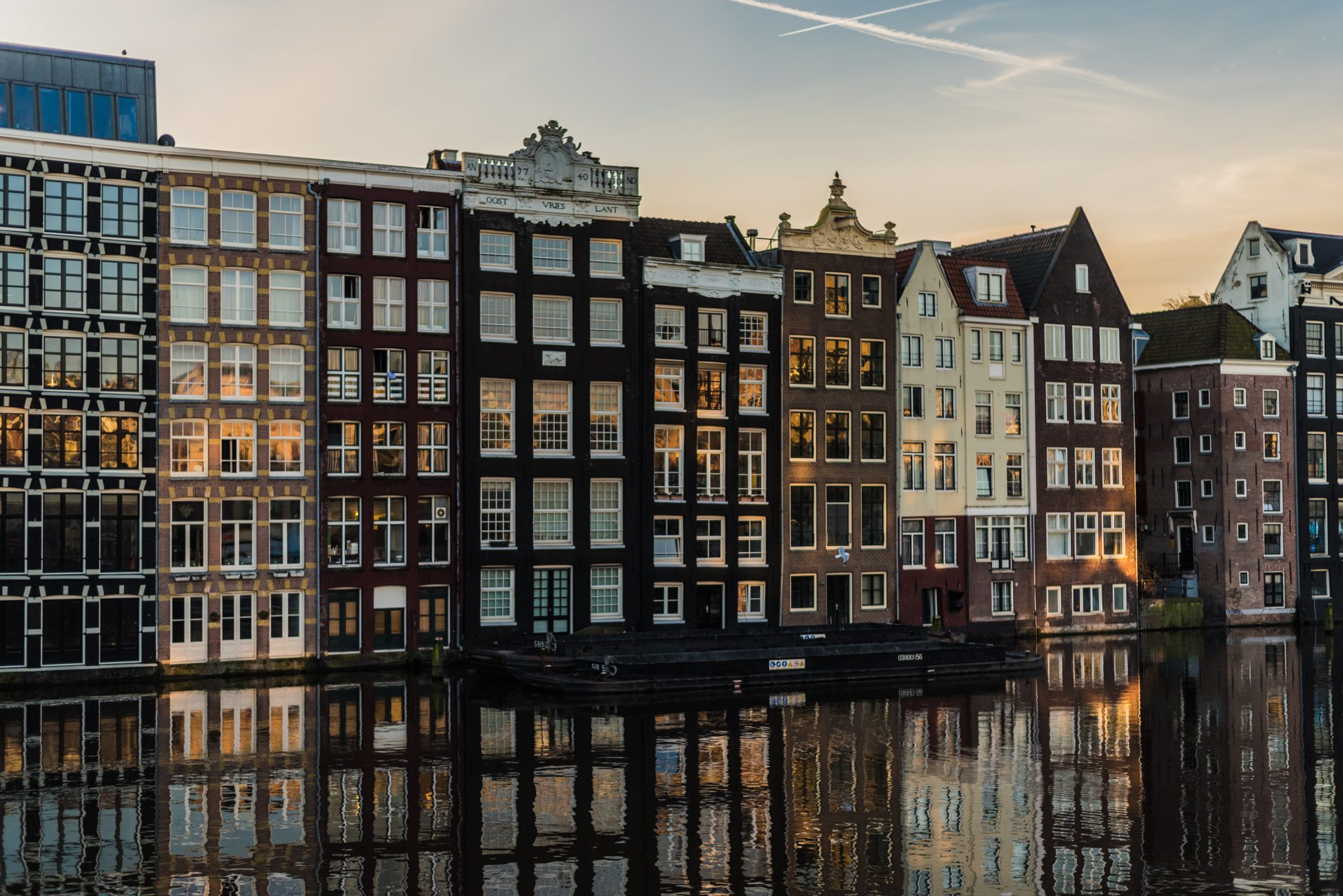 Amsterdam, the Netherlands townhouses next to water