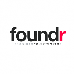 foundr magazine for young entrepreneurs black text with red r at the end on a white background