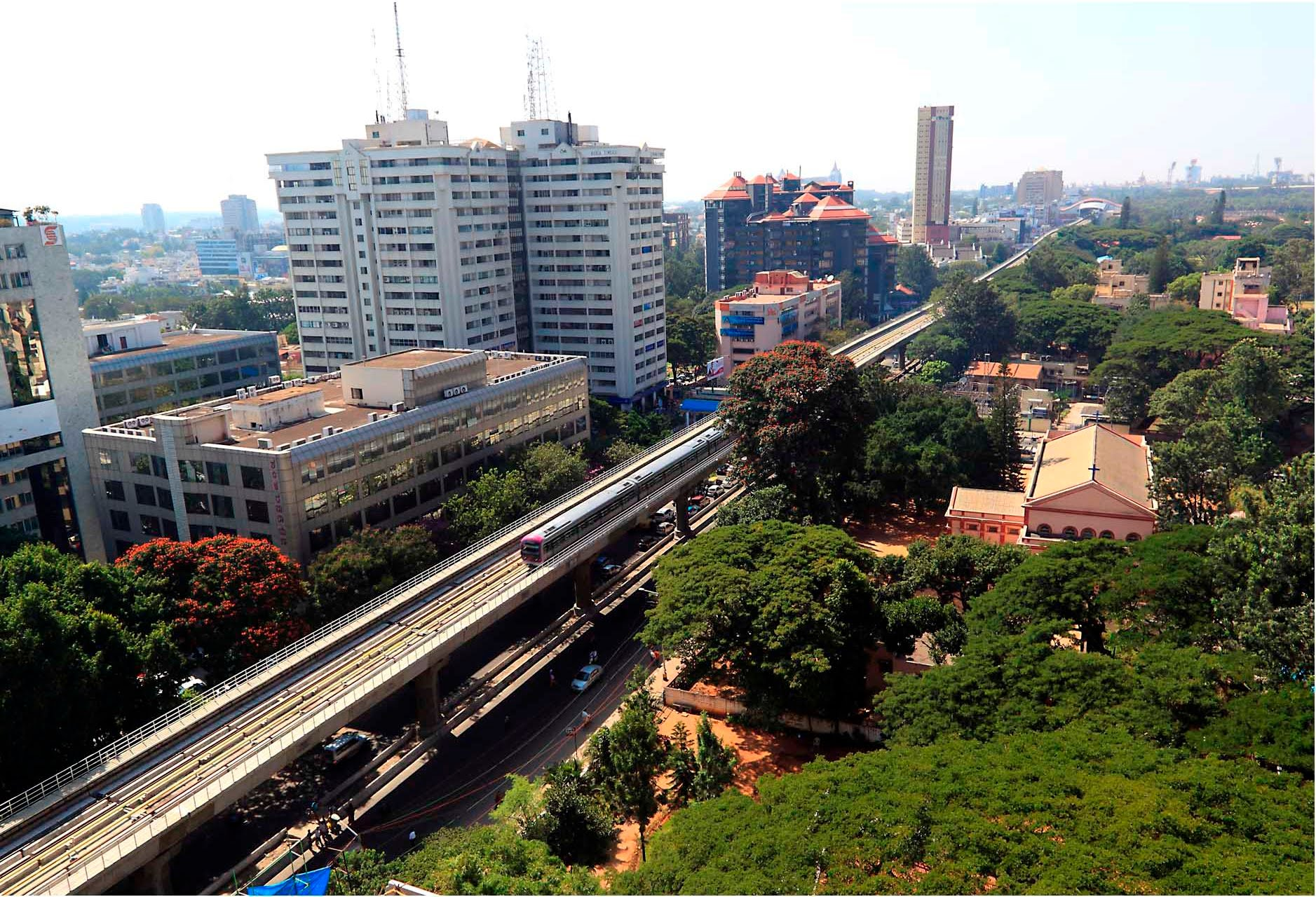 Bengaluru, India city with metro and greenery