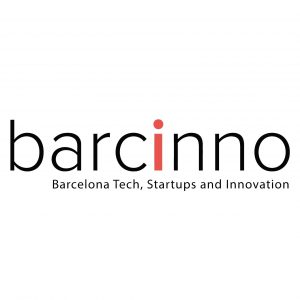 text barcinno barcelo tech startups and innovation on white background with black letters with red i letter