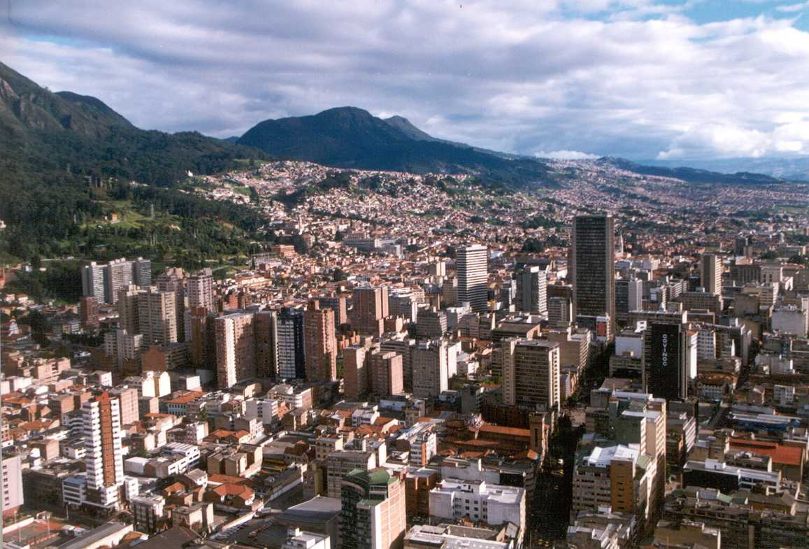 Bogota, Colombia city view with mountains on the lft