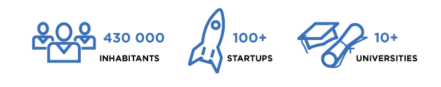 statistics on the number of inhabitants startups and universities black text blue images of rocket people and graduation cap and paper bratislava slovakia