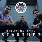 Breaking into startups logo - 3 sat men