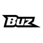 buz logo white text with black contour white background