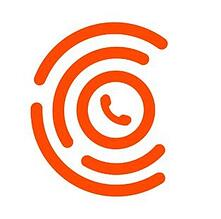 logo with orange shapes on a white background
