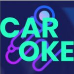 light green Car Oke with a microphone on a purple background