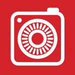 square white camera on a red background