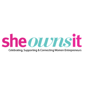 she owns it logo with pink and green letters on a transparent background.