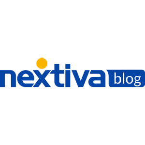 nextiva blog logo with blue letters and yellow circle on a white background