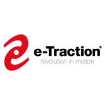 e-traction logo red shape and black text