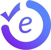 logo with the letter E in a circle with a tick sign in top-left corner, all in blue and purple, white background