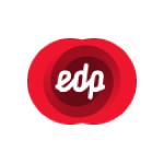 edp logo white text shades of red circles